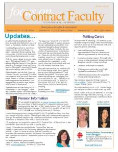 focus on Contract Faculty Issue 2 October 2014